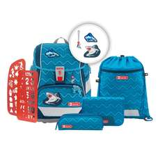 2in1 Plus Schulrucksack-Set 6tlg.Angry Shark