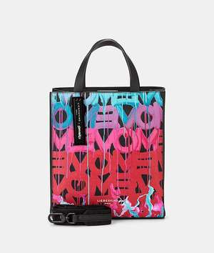 Paper Bag S Tragetasche black with poppy red