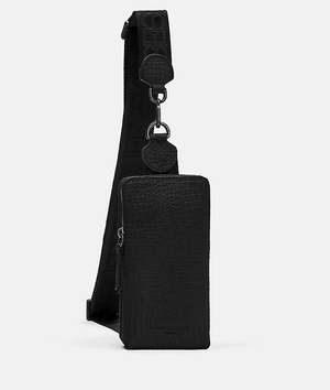 Lizard Suede Sling Bag black
