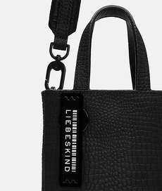 Petit Suede with Lizard Paper Bag XS Black